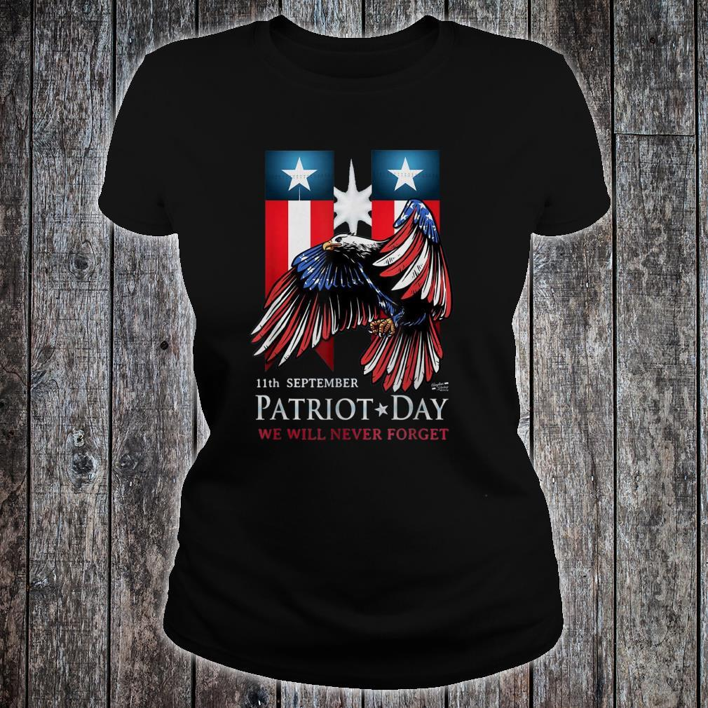 11th September Patriot Day Never Forget American Flag Shirt ladies tee