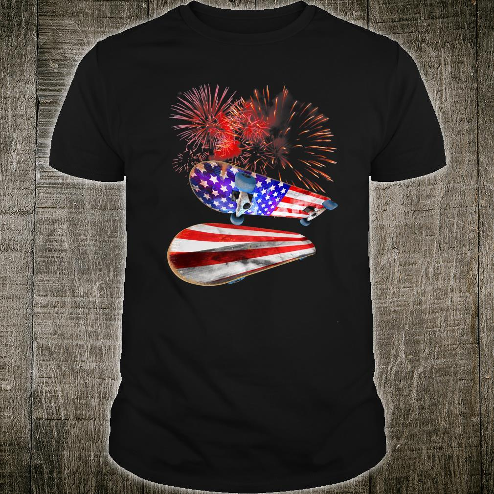 4th July American Flag Fourth USA Independence Day skate Shirt