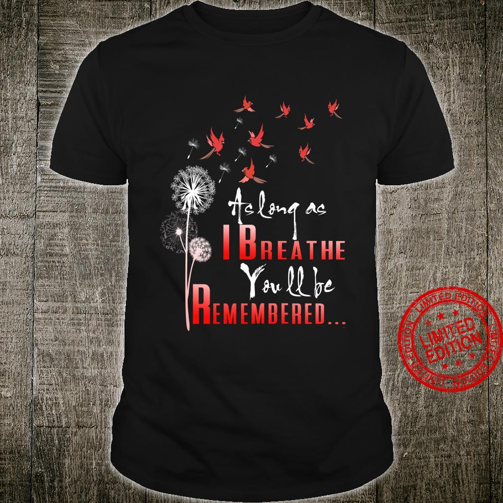 Birds as long as I breathe you will be remembered shirt