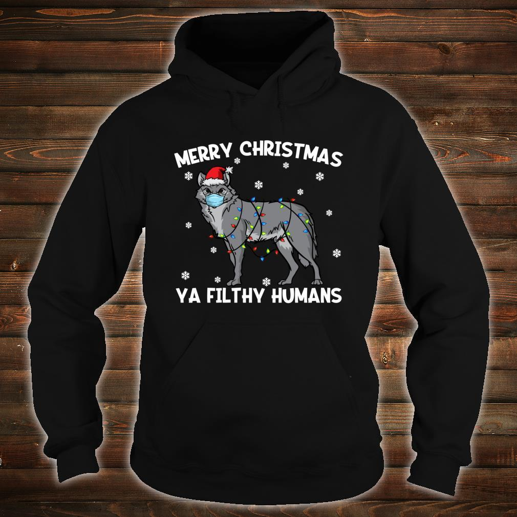 Merry Christmas Wolf Wearing Face Mask Shirt hoodie