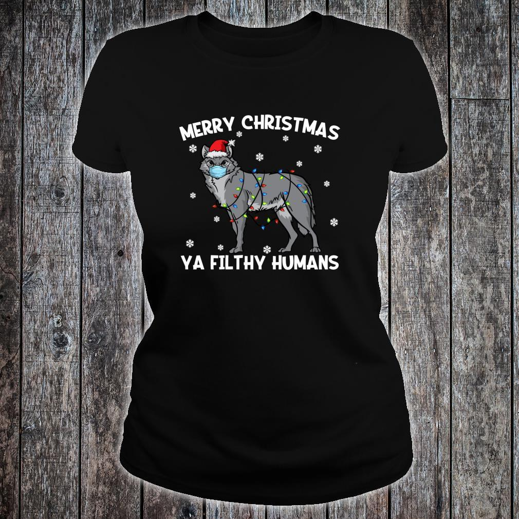 Merry Christmas Wolf Wearing Face Mask Shirt ladies tee