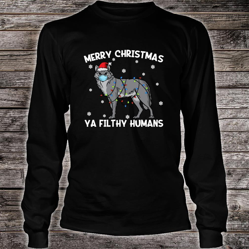 Merry Christmas Wolf Wearing Face Mask Shirt long sleeved
