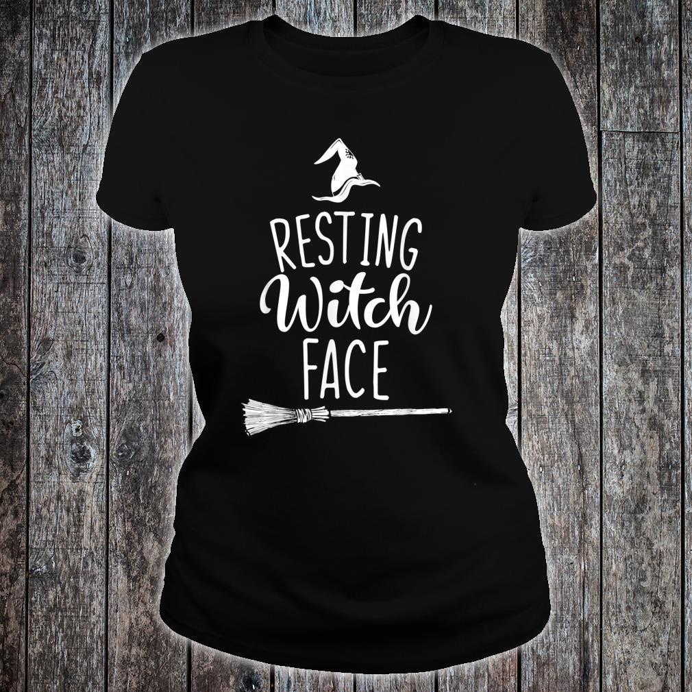 Resting Witch Face Halloween Broomstick Hat Shirt ladies tee
