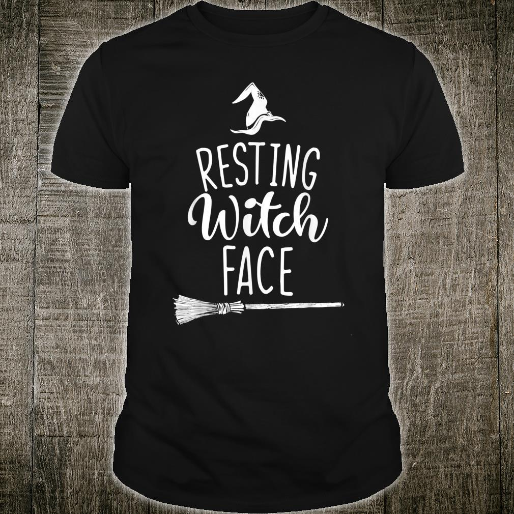Resting Witch Face Halloween Broomstick Hat Shirt